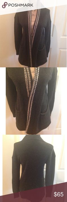 """Ella Moss Chunky Charcoal Cardigan Sweater Dark Grey open cardigan, with two front pockets. 26"""" Length. Tan detailing along edges. 55% Silk 45% Wool. Sweater is in good preowned condition! Ella Moss Sweaters Cardigans"""