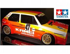 The Tamiya Volkswagen Golf Mk.1 Grp.2 is a 1/10 R/C radio control car self assembly model kit based on the M-05 chassis.    The Volkswagen Golf Mk.1 was a veteran of European touring car racing, and the Kamei-sponsored car with itsdistinctive livery ran in the low-modification Group 2 class. Fun and maneuverability are the order of the daywith this on-road racer. This famous car is the latest addition to the M-05 chassis series line-up.