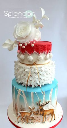 This winter wonderland cake is gorgeous! - A bit of Christmas Magic - Cake by splendorcakes Holiday Cakes, Christmas Desserts, Christmas Baking, Christmas Cakes, Christmas 2015, Christmas Wedding, Merry Christmas, Gorgeous Cakes, Pretty Cakes
