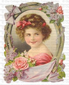Victorian Calendar Portrait Girl With Flowers