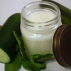 Soy Jar Candle Cucumber Mint Scented Container Candle Dye Free   blackberrythyme - Candles on ArtFire