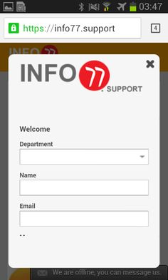 Support Centre: https://info77.support
