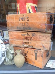 3 genuine original old wooden boxes with hinges. A snip at £48.00 each. Leighs Pyclets, Nottingham.