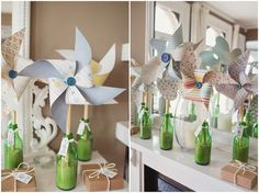 Paper pinwheels make for unique wedding decor for a spring or summer wedding.