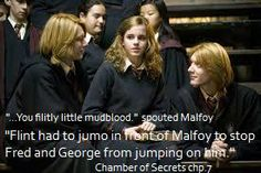Chamber of Secrets. I love this, Malfoy called Hermione a mudblood and the way Fred and George reacted is so fantastic!!