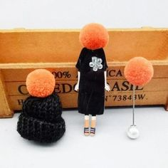 Cute set of 3 pins: girl wearing large winter cap, cap with pompom and pompom pin.Add unique element to your winter outfit! Thanksgiving Gifts, Body Jewellery, Nose Stud, Winter Trends, Girls Wear, Bracelet Patterns, Winter Outfits, Bracelets, Necklaces