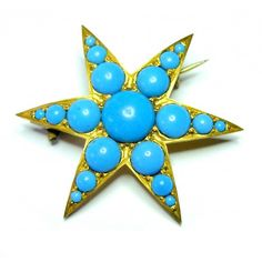 Victorian Turquoise Glass Star Brooch