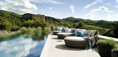 Tosca daybed is an luxury outdoor furniture from Tribù designed by Monica Armani