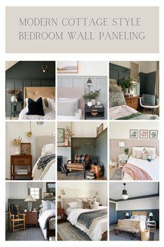 Modern Cottage Style Bedroom Wall Paneling Ideas Cottage Style Bedrooms, Modern Cottage Style, Home Decor Inspiration, Decor Ideas, Diy Ideas, Decorating Ideas, Bedroom Wall, Master Bedroom, Cozy Bedroom