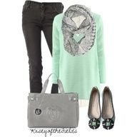 Fashionista. Mint and grey. Love the infinity scarf. Great fall fashion ensemble.