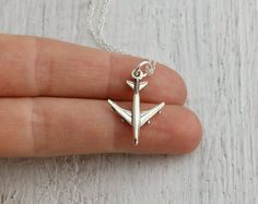Airplane Necklace - Sterling Silver Airplane Charm Necklace - Jet Necklace - World Traveler Gift - Flight Attendant Gift - Pilot Necklace Minimal Jewelry, Simple Jewelry, Cute Jewelry, Jewelry Accessories, Engraved Necklace, Sterling Silver Jewelry, Jewelery, At Least, Bling