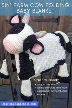 How cute is this baby blanket! Keep your baby warm while they play with the cow toy. Fold it away and instantly transforms into a happy cow decoration for your themed nursery room. Crochet a fluffy cow baby blanket that makes the perfect baby shower gift Crochet Feather, Crochet Cow, C2c Crochet, Easy Crochet, Crochet For Beginners Blanket, Crochet Blanket Patterns, Baby Blanket Crochet, Corner To Corner Crochet Blanket, Themed Nursery