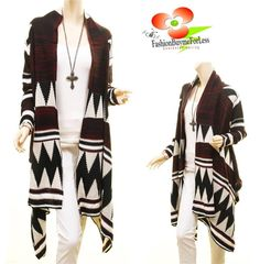 Boho Hippie Wool Draped Open Haute Sweater Cardigan Duster Jacket Coat S M L