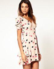 Lipsy Multi Polka Dot Frill Hem Tea Dress