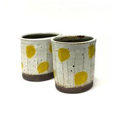 yellow dot cup // handmade // ceramic tumbler // polkadot
