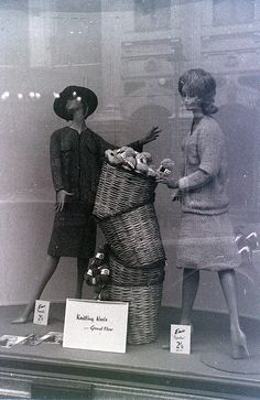 Window display at Liberty's department store, London, around December 1962 by allhails Vintage Store Displays, Store Window Displays, Vintage Display, Vintage Shops, Store Mannequins, Vintage Mannequin, Clothing Displays, Vintage Windows, Visual Display