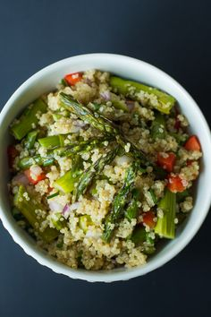 Roasted Asparagus Quinoa Salad (cold salad made with leftover roasted asparagus and homemade vinaigrette)