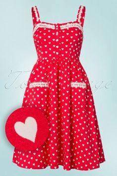 Lindy Bop Corinna Red white Hearts print 1950s style retro dress jurk rood hartjes print wit