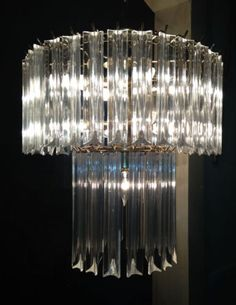 2 Tier Lucite Acrylic Prism Hollywood Regency Chandelier Mid Century Modern