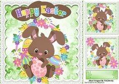 Cute little brown easter bunny with flowers 8x8 by Nick Bowley Cute little brown easter bunny with flowers 8x8, with toppers makes a lovely card, card fronts can be seen in my designer resources