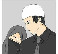 Love Cartoon Couple, Anime Love Couple, Cute Muslim Couples, Cute Couples, Best Facebook Profile Picture, Sad Girl Drawing, Comedy Pictures, Couple Sketch, Islamic Cartoon