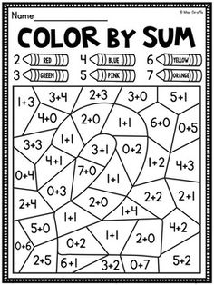 Color by Sum Addition Fact Fluency Worksheets to practice adding with sums to 10 (sums 2-10 included) where kids add and color for fact fluency fun!