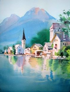 Watercolor paintings by Milind Mulick - Gouache Painting Watercolor Architecture, Watercolor Landscape Paintings, Watercolor Artists, Gouache Painting, Watercolor Illustration, Landscape Art, Mountain Landscape, Art Sketches, Art Drawings