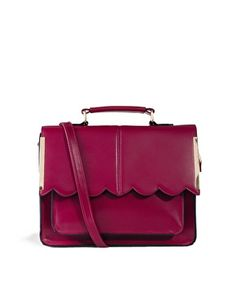 Image 1 of ASOS Satchel Bag With Scallop Bar Detail