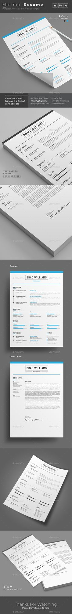 MS WORD CV Template Resume Template + Cover Letter PSD + AI - cv template download