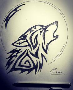 Loup - My list of best tattoo models Tribal Drawings, Dark Art Drawings, Pencil Art Drawings, Art Drawings Sketches, Cool Drawings, Wolf Tattoos, Tribal Wolf Tattoo, Body Art Tattoos, Tribal Animal Tattoos
