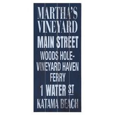 We have a smaller version of this. Reminds us of our trips to MV. Plank-style wood wall art with Martha's Vineyard locales. Ready-to-hang with included sawtooth hanger.  Product: Wall decorConstruction Material: Wood Features:  Great addition to any roomReady to hang Note: Hanging hardware includedCleaning and Care: Wipe with damp cloth