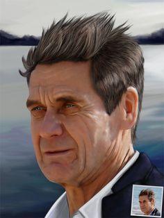 Portrait rapproché homme sur fond de paysage maritime. www.portrait-perso.com