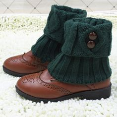 Free shipping!five colors plaid leg warmers fastener boots socks Knit Boot Cuff with button