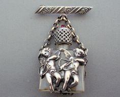 Rare French Antique Victorian Cherubs Cupid Perfume Bottle Pin Brooch