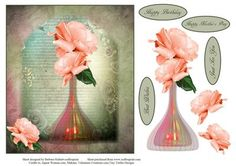 Summer Roses Topper with Decoupage on Craftsuprint - Add To Basket!