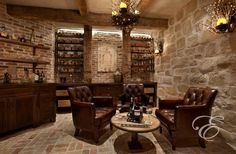 Mediterranean Wine Cellar with XL Oaked Chardonnay (Set of 4), Open shelving, Exposed beam, Chandelier, Brick floors
