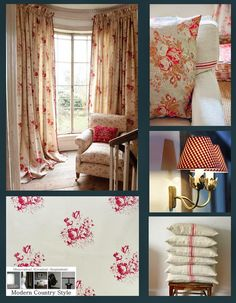 Full details on Modern Country Style blog: Romantic Red Faded Florals: Get The Look
