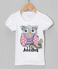 White Owl Personalized Tee - Infant, Toddler & Girls #zulily #zulilyfinds