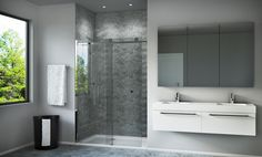 Crafted with simple clean lines paired with smooth gliding wheels, the Central range provides a practical solution for when space is restricted without compromising on design. Slider Door, Bathroom Collections, Single Doors, Glass Panels, Bathroom Inspiration, Chrome Finish, Polished Chrome, Modern Bathroom, Clear Glass