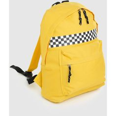 yellow checkered backpack school bag rucksack sports travel tumblr... ($22) ❤ liked on Polyvore featuring bags and backpacks
