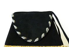 Vintage 60s  Black Suede Leather Handbag NINA Trapezoid. Evening Bag. Cross Body Purse. on Etsy, €58,89