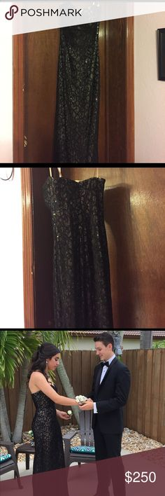 Prom dress Black lace/gold underlining. Length is 50 inch. I only wore it once to my prom! Awesome condition! ann marie's Dresses Prom