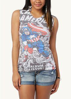 Captain America Slash Back Tee | Graphic Tees & Tanks | rue21