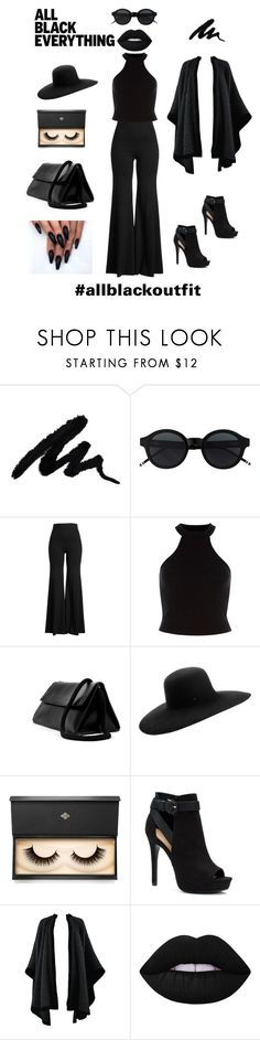 """""""Back in Black"""" by designsbydebralyn ❤ liked on Polyvore featuring Rosetta Getty, Maison Michel, Lash Star Beauty, Apt. 9, Yves Saint Laurent, Lime Crime and allblackoutfit"""