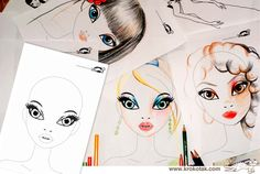 FACE PRINTABLES for Drawing Hair and Make-Up | krokotak