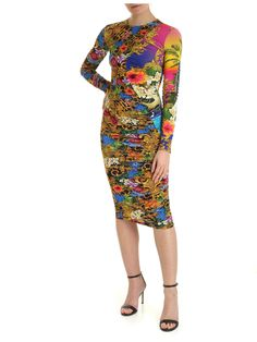 Versace Jeans Couture Tropical Baroque Slim Fit Dress In Multi Slim Fit Dresses, Dresses For Work, Dresses With Sleeves, Baroque, Versace Jeans Couture, Couture Fashion, World Of Fashion, Dress Outfits, Your Style