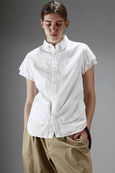 Y's Yohji Yamamoto | classic man shirt in cotton poplin | classic man shirt in cotton poplin, short sleeve, doubled at the bottom on the front and on the sleeves, longer on the back | article code: 24684 | season: Spring/Summer | composition: 100% cotton
