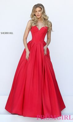 Prom Dresses, Celebrity Dresses, Sexy Evening Gowns: Ball Gown Style Strapless Long Sherri Hill Prom Dress