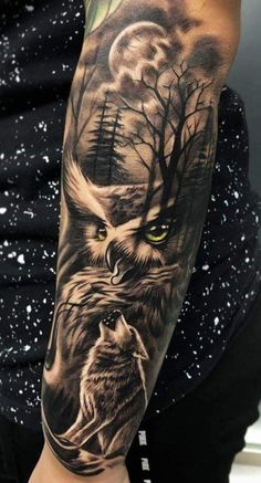 50 of the most beautiful owl tattoo designs and their meaning for the nocturnal animal in him . - 50 of the most beautiful owl tattoo designs and their meaning for the night animal in you, - Wolf Tattoo Sleeve, Nature Tattoo Sleeve, Sleeve Tattoos For Women, Tattoo Sleeve Designs, Tattoo Designs Men, Forest Tattoo Sleeve, Tattoo Wolf, Wolf Pack Tattoo, Tattoo Nature