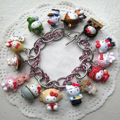 Hello Kitty Charm Bracelet-For Carmen Hello Kitty Jewelry, Hello Kitty Items, Sundress Tutorial, Hello Kitty Imagenes, Biscuit, Hello Kitty Collection, Sanrio Characters, Here Kitty Kitty, Clay Charms